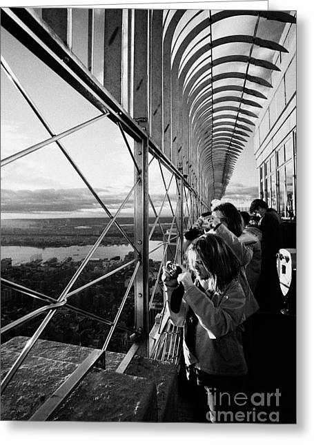 Tourists  Look At The View And Take Photos From Observation Deck Empire State Building Greeting Card