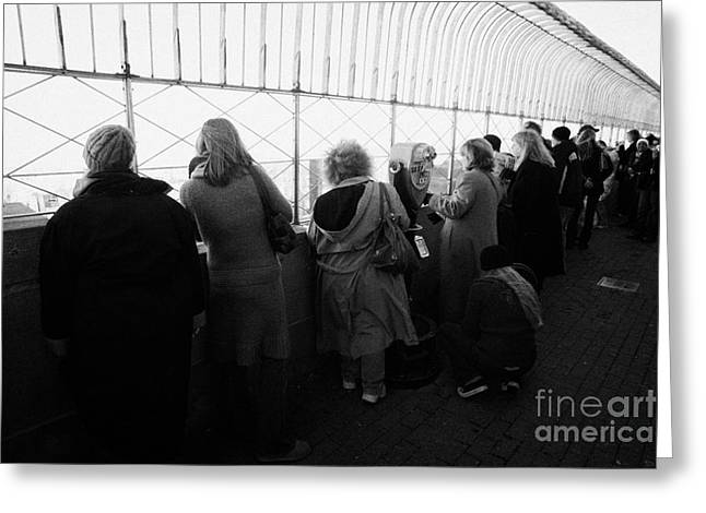 Tourists  Look At The View From Observation Deck Empire State Building Greeting Card