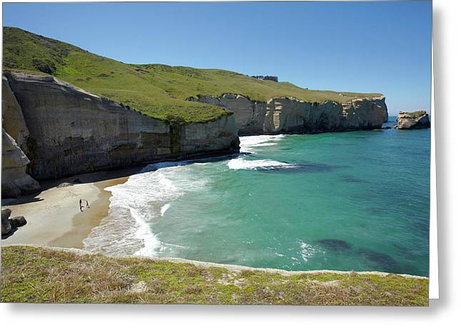 Tourists On Beach And Cliffs At Tunnel Greeting Card by David Wall