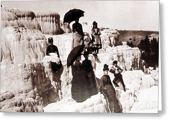 Tourists On Mammoth Terraces Greeting Card by NPS Photo