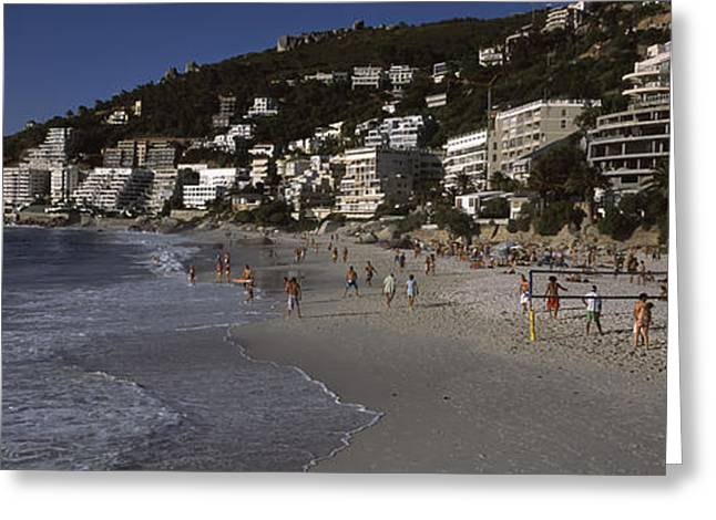 Tourists On The Beach, Clifton Beach Greeting Card by Panoramic Images