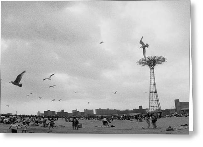 Tourists On The Beach, Coney Island Greeting Card by Panoramic Images