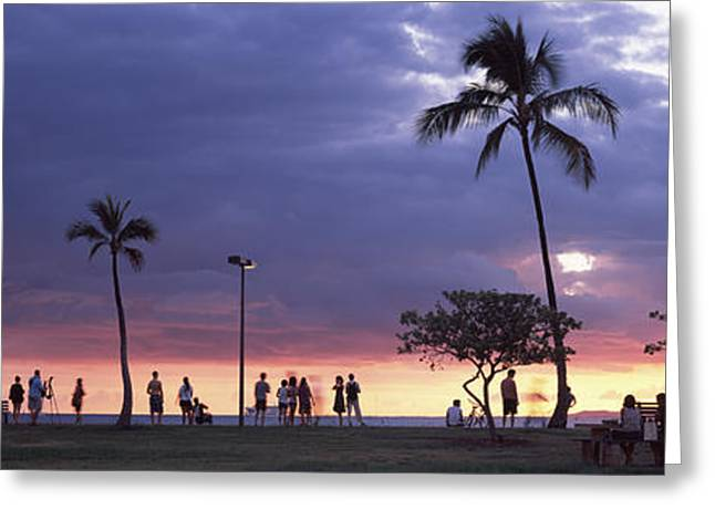 Tourists On The Beach, Honolulu, Oahu Greeting Card by Panoramic Images