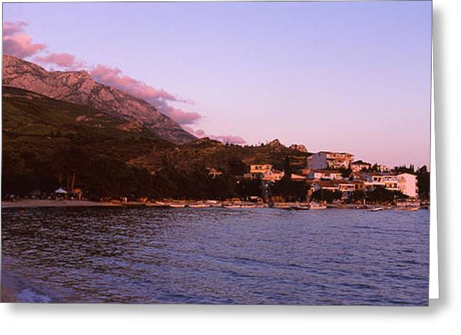 Tourists On The Beach, Makarska Greeting Card by Panoramic Images