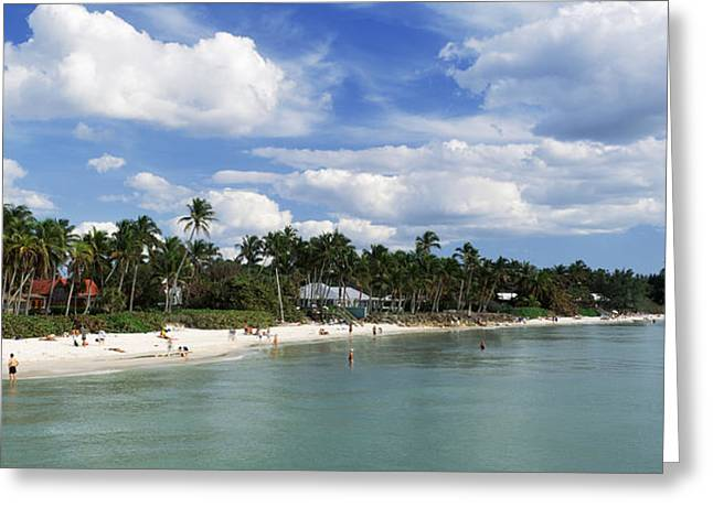 Tourists On The Beach, Naples, Gulf Greeting Card by Panoramic Images