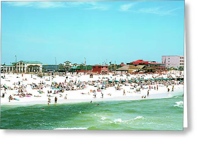 Tourists On The Beach, Pensacola Greeting Card by Panoramic Images
