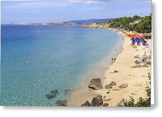 Tourists On The Beach, Platis Gialos Greeting Card