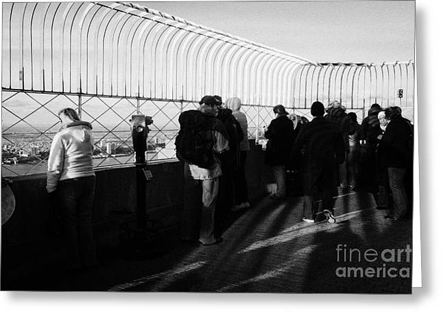 Tourists On The View From Observation Deck  Empire State Building New York City Usa Greeting Card