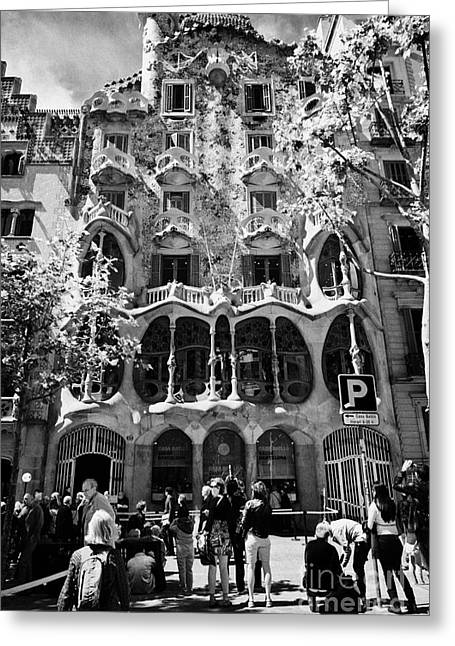 tourists outside casa batllo modernisme style building in Barcelona Catalonia Spain Greeting Card