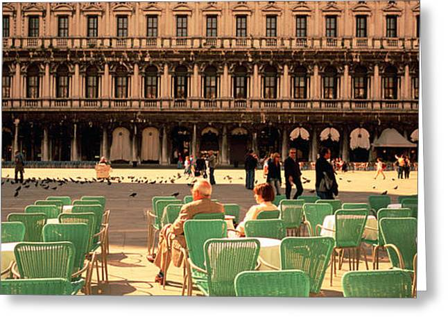 Tourists Outside Of A Building, Venice Greeting Card