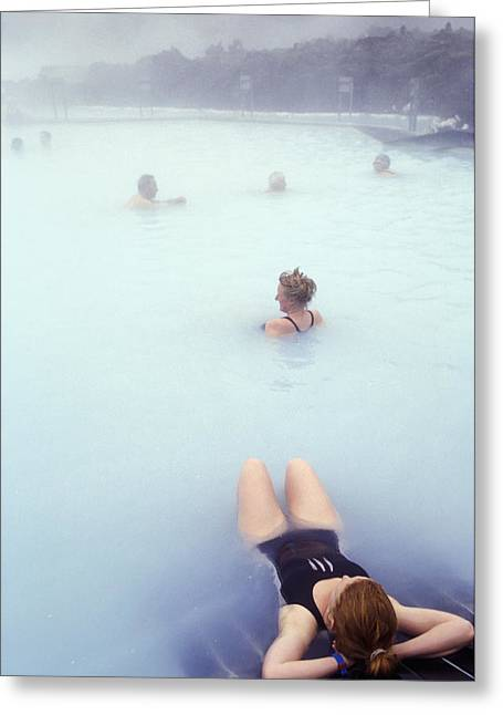 Tourists Relaxing In Hot Spring Pool Greeting Card by Jenny Acheson