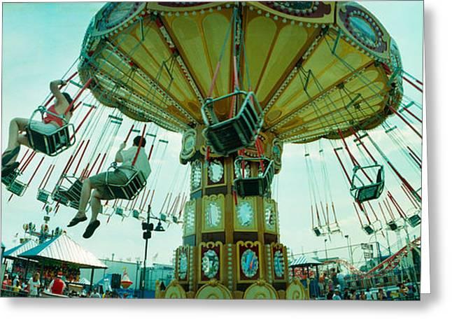 Tourists Riding On An Amusement Park Greeting Card