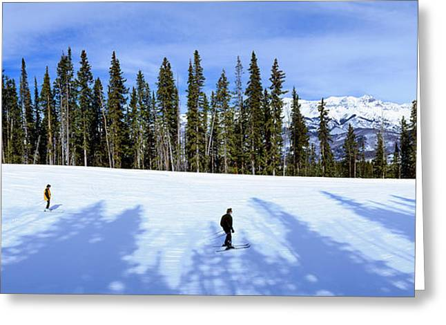 Tourists Skiing On Snow Covered Greeting Card