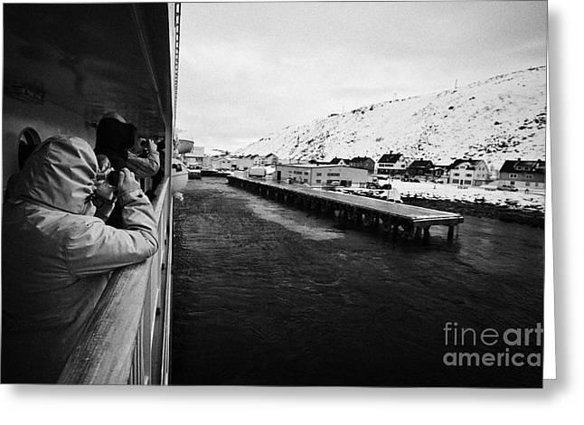 Tourists Taking Photos Of Havoysund Hurtigruten Pier Finnmark Norway Europe Greeting Card