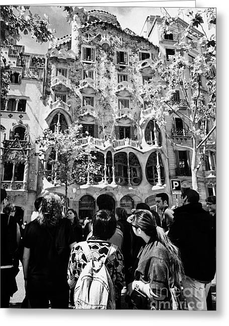tourists tour group outside casa batllo modernisme style building in Barcelona Catalonia Spain Greeting Card