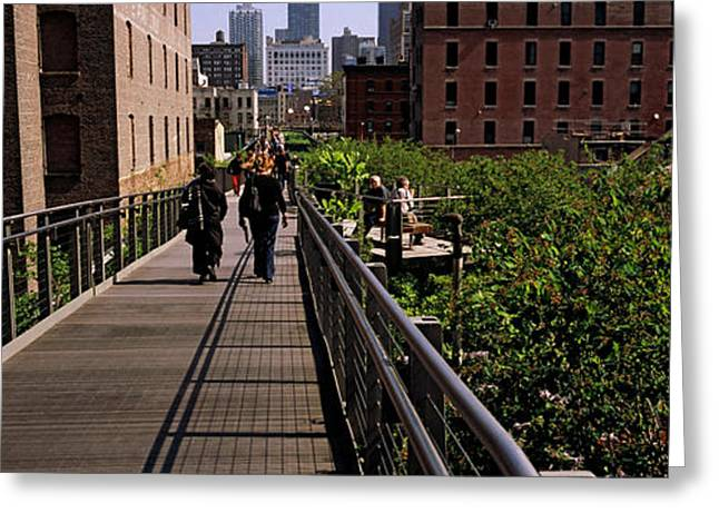 Tourists Walking In A Park, High Line Greeting Card by Panoramic Images