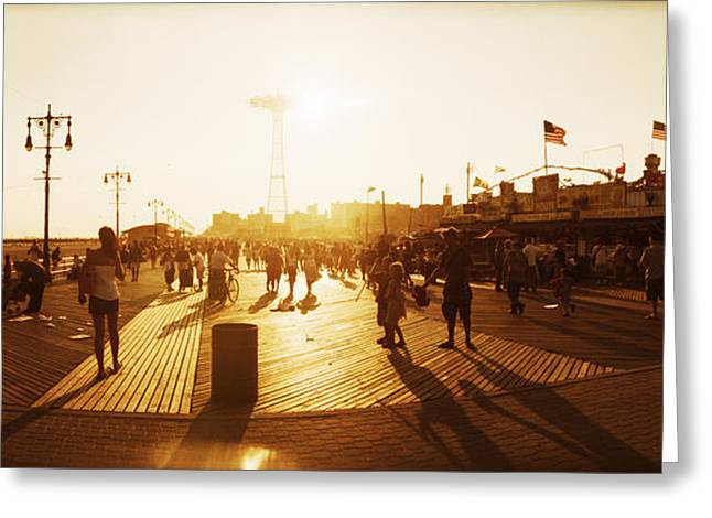 Tourists Walking On A Boardwalk, Coney Greeting Card