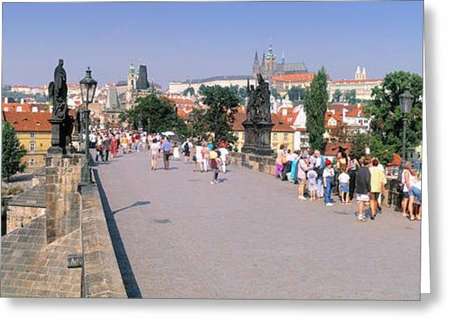 Tourists Walking On A Bridge, Charles Greeting Card by Panoramic Images