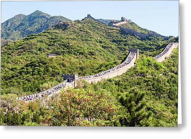 Tourists Walking On A Wall, Great Wall Greeting Card by Panoramic Images