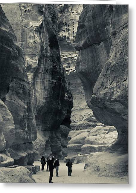 Tourists Walking Through The Siq Greeting Card