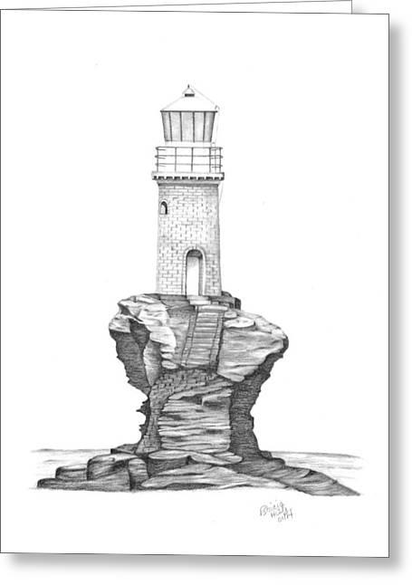 Tourlitis Lighthouse-greece Greeting Card by Patricia Hiltz