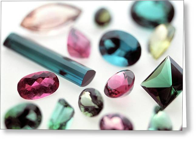 Tourmaline Gemstones Greeting Card by Lawrence Lawry/science Photo Library