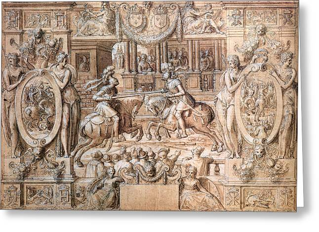 Tournament On The Occasion Of The Marriage Of Catherine De Medici 1519-89 And Henri II 1519-59 Greeting Card
