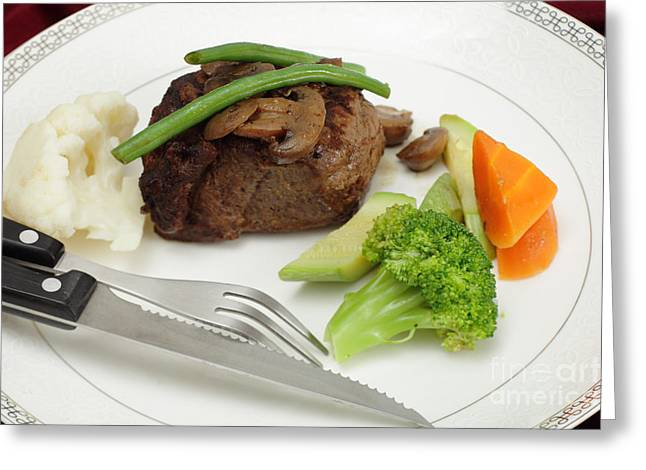 Tournedos Meal With Cutlery Greeting Card