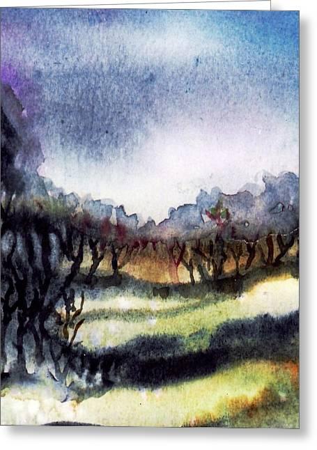 Towards The Misty Bogland  Greeting Card by Trudi Doyle
