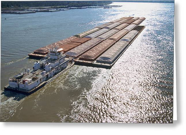 Towboats And Barges On The Mississippi Greeting Card