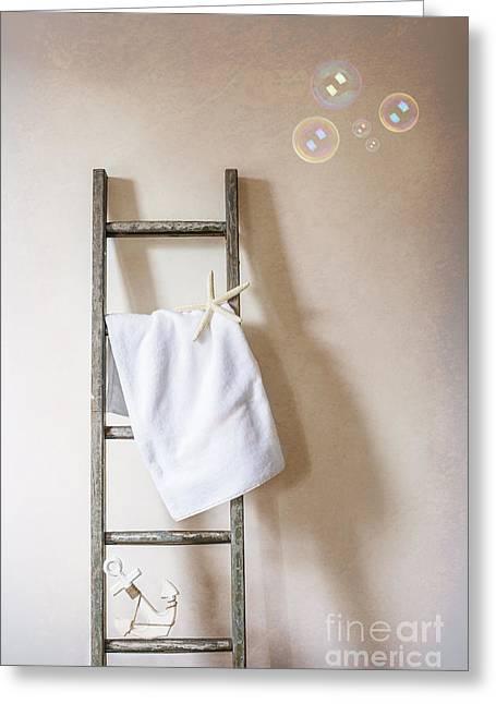 Towel Rail Greeting Card by Amanda Elwell