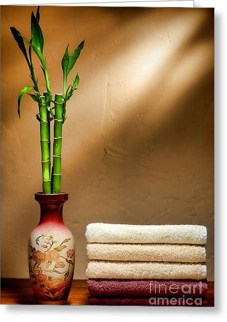Towels And Bamboo Greeting Card by Olivier Le Queinec