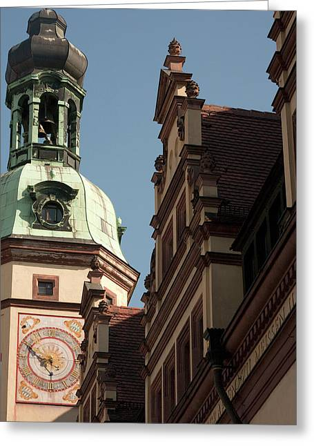 Tower And Clock Of City Hall, Leipzig Greeting Card