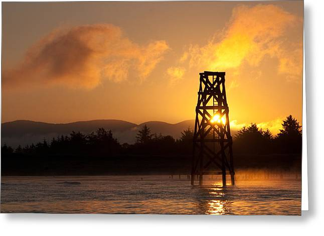 Greeting Card featuring the photograph Tower At Dawn by Erin Kohlenberg