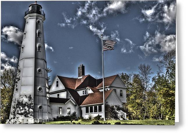 Greeting Card featuring the photograph Tower At North Point by Deborah Klubertanz