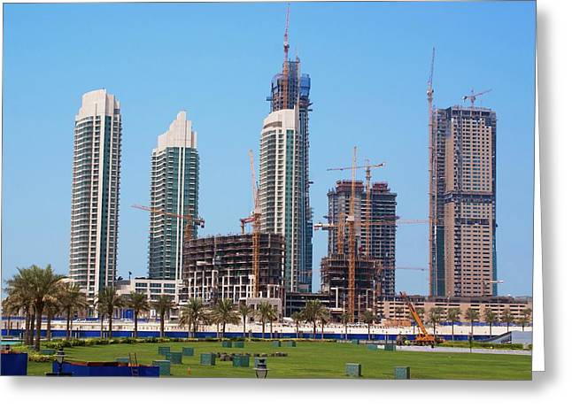 Tower Block Construction In Dubai Greeting Card by Mark Williamson