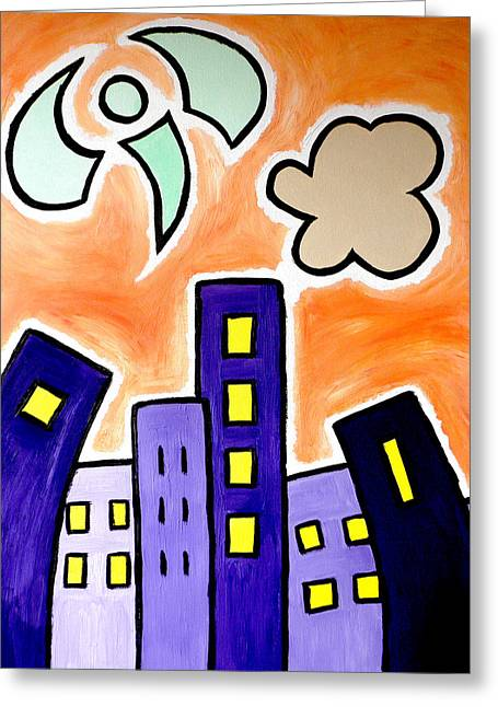 Tower Blocks Orange Greeting Card
