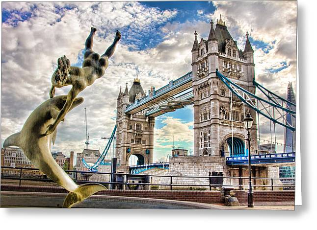 Tower Bridge And Girl With A Dolphin Greeting Card