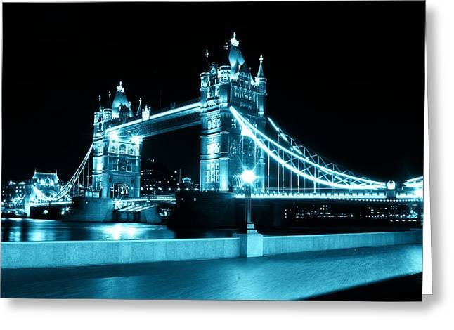 Tower Bridge Blue Greeting Card by Dan Davidson