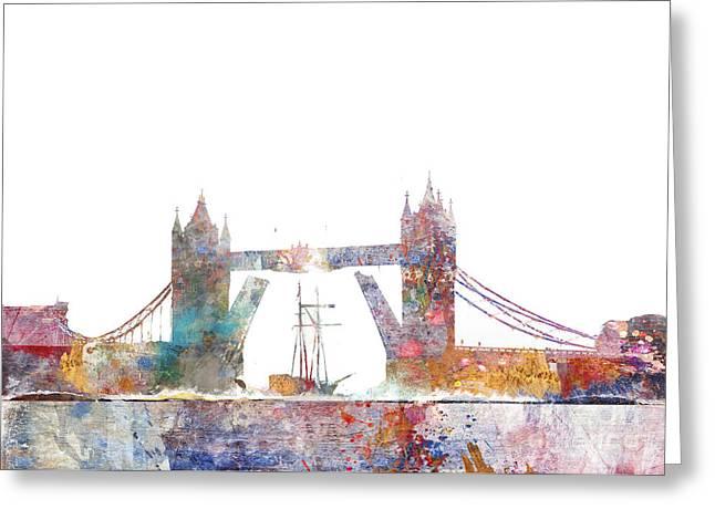 Tower Bridge Colorsplash Greeting Card