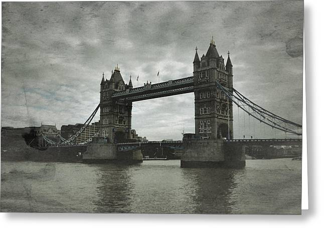 Tower Bridge In London Over The Thames Greeting Card by John Colley