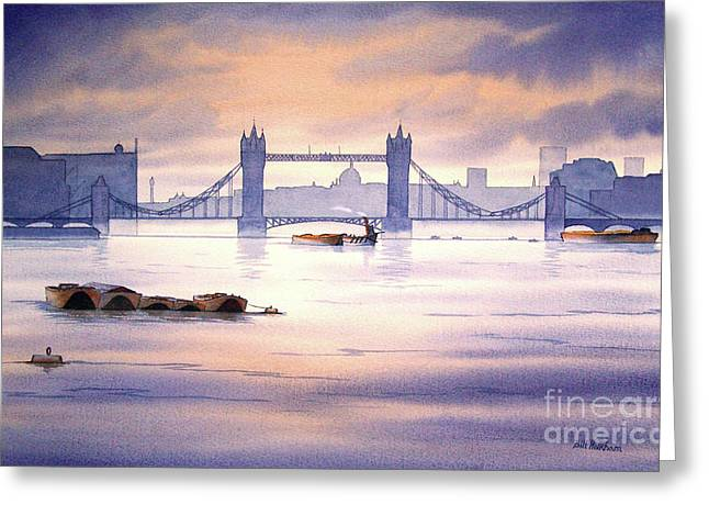 River Scenes Greeting Cards - Tower Bridge London Greeting Card by Bill Holkham
