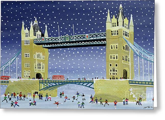 Tower Bridge Skating On Thin Ice Greeting Card by Judy Joel