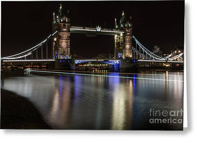 Tower Bridge With Boat Trails Greeting Card