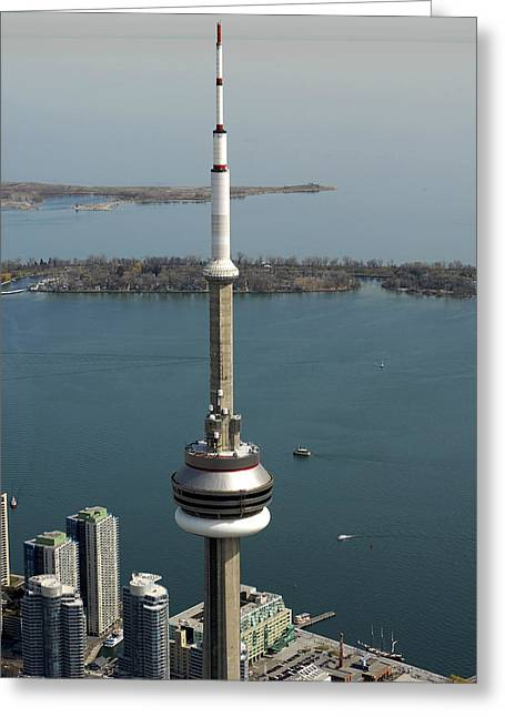 Tower Close Up With Lake Ontario In Greeting Card by Bernard Dupuis
