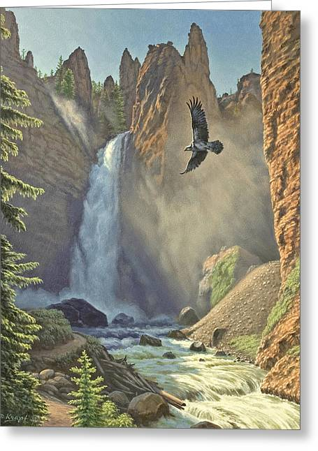 Tower Falls  Greeting Card by Paul Krapf
