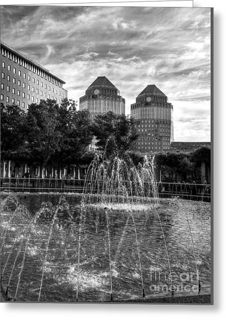 Tower Fountains Bw Greeting Card