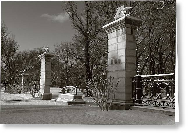 Tower Grove East Gate Greeting Card by Scott Rackers