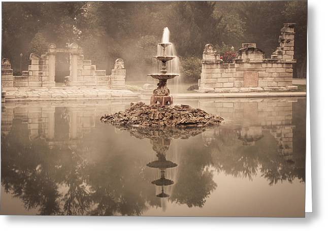 Tower Grove Fountain Greeting Card by Scott Rackers