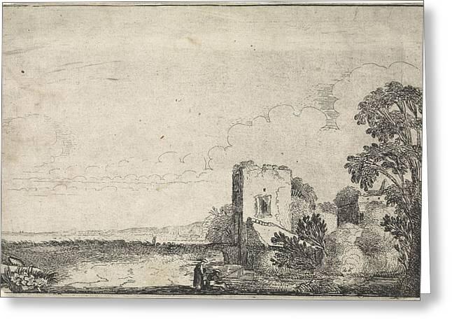 Tower In A Landscape, Jan Van De Velde II Greeting Card